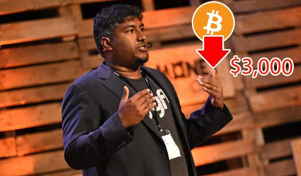 Bitcoin Could Fall Below $3000, says Vinny Lingham