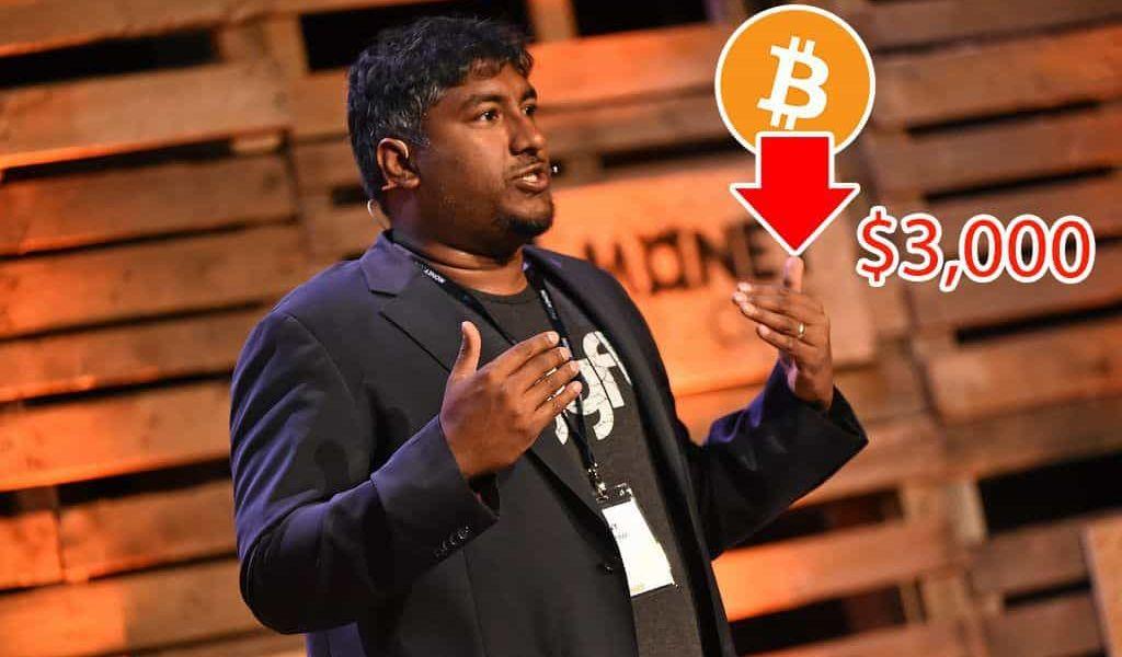 Bitcoin Could Fall Below $3000, says Vinny Lingham