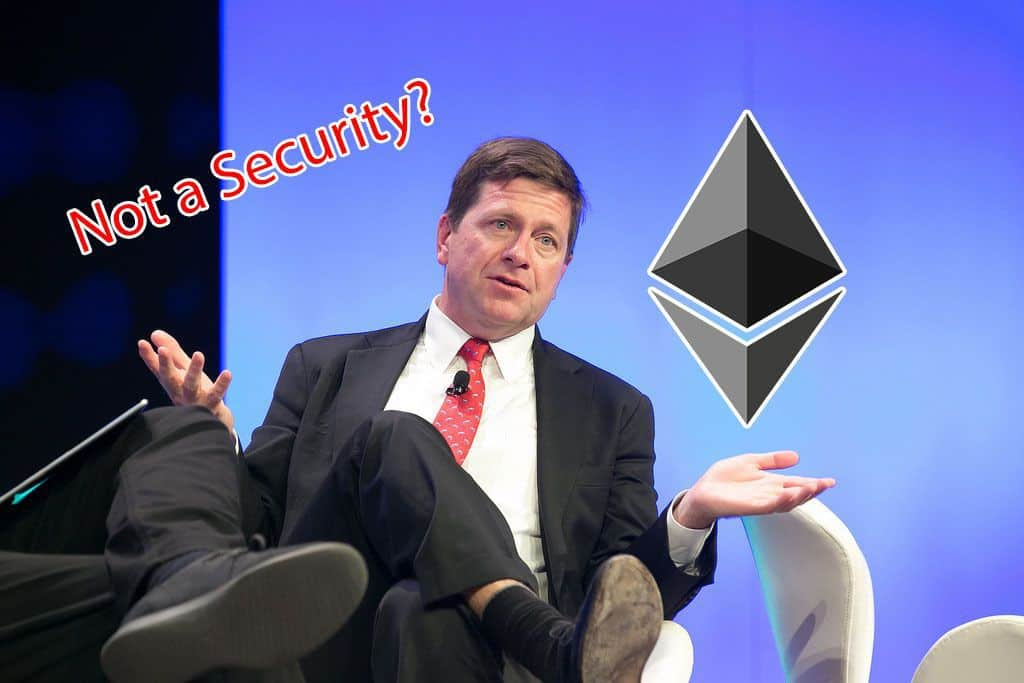 SEC Chairman Jay Clayton Suggest Ethereum May Not Be a Security, Classification Could Be Subject to Change